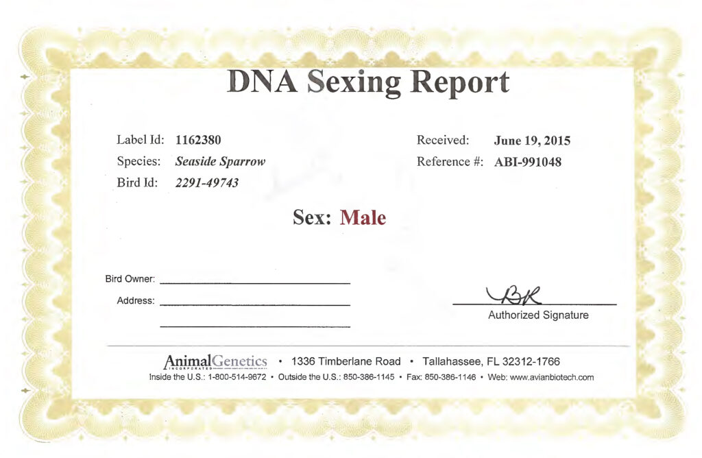 DNA Sexing Report_CSSS